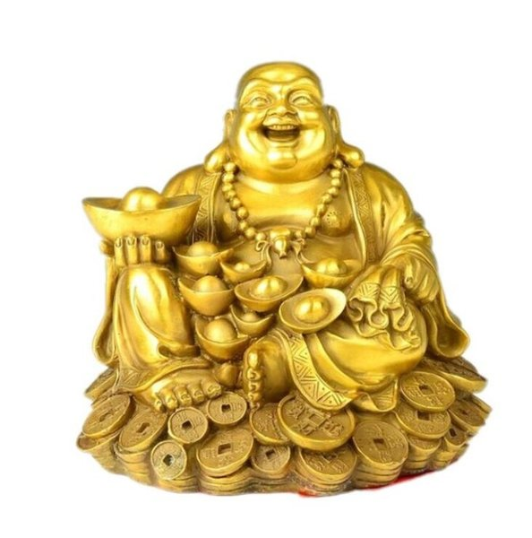 Maitreya copper Buddha Buddha gold ornaments money laugh living room feng shui lucky decoration