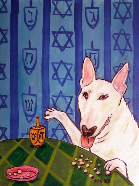 Hayvanlar Sanat Bull Terrier SANAT Hanuka, yağlıboya Üreme Yüksek Kalite Giclee Baskı Tuval Modern Ev Sanat Dekor