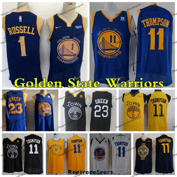 timeless design 2a81b 86c39 2019 2019 Earned D'Angelo Russell 1 Klay Golden 11 Thompson State Draymond  Green 23 Warrior Edition Basketball City Stitched Jerseys From ...