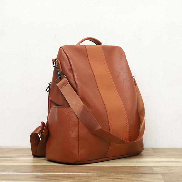 Mujeres antirrobo PU cuero mochila bolsa Vintage impermeable mochilas escolares para adolescentes mujeres pequeños bolsos de viaje ocasionales