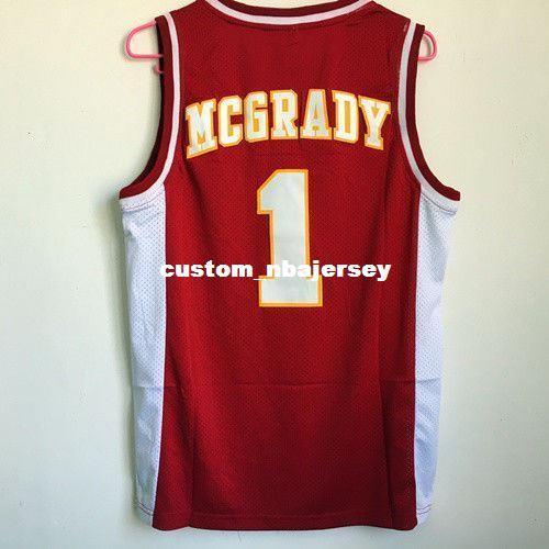 Cheap custom McGrady #1 Mountzion High School Stitched Basketball Jersey S-2XL Red Stitch customize any number name MEN WOMEN YOUTH XS-5XL