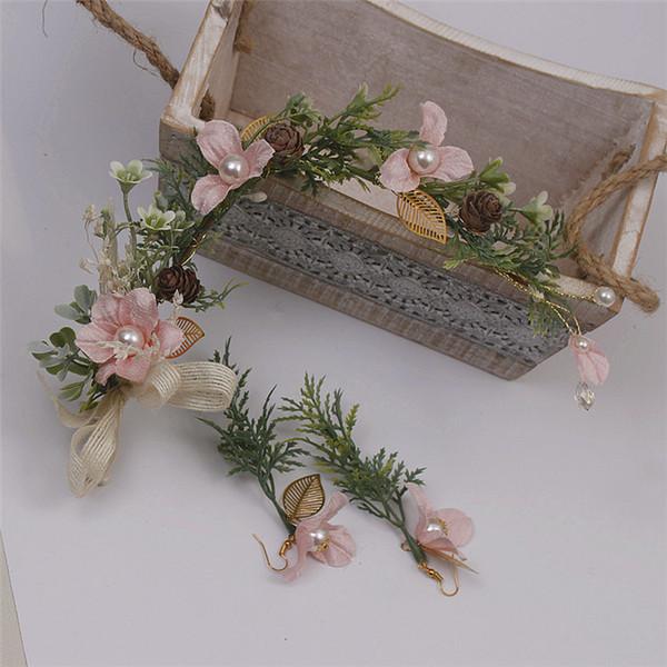 Toucado feito à mão da noiva terno de duas cores sistema de simulação pérola garland brincos acessórios para o cabelo