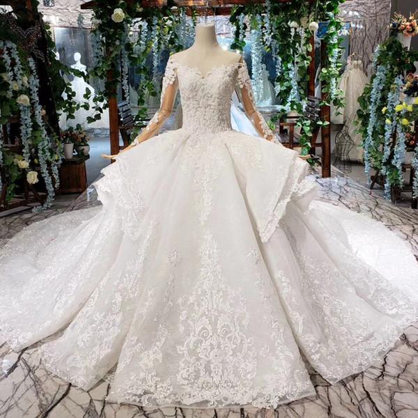 2019 Verão Líbano Vestidos De Casamento Longo Tulle Manga Grande Ruffle Ilusão O-pescoço Aberto Fechadura Lace Up Voltar Lantejoulas Applique Vestidos de Noiva