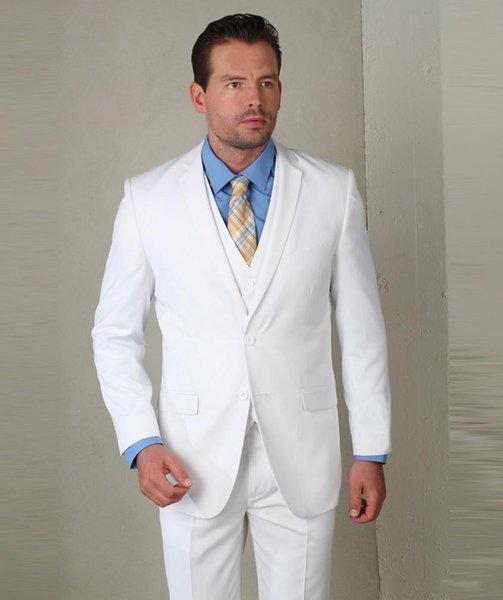 New Arrival White Groom Tuxedos Notch Lapel Groomsmen Mens Wedding Dress Popular Man Jacket Blazer 3 Piece Suit(Jacket+Pants+Vest+Tie) 875