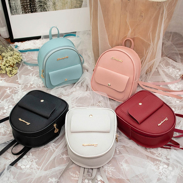 best selling PU Leather Backpack Women Travel Casual Shoulder School Small Bagpack for Teenage Girls Female Back pack