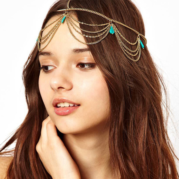 Modeschmuck Indische Braut Haarschmuck Gold Kopf Kette Frauen Vintage Boho Kopfschmuck Haarschmuck Grüne Hochzeit Stirn Tiara