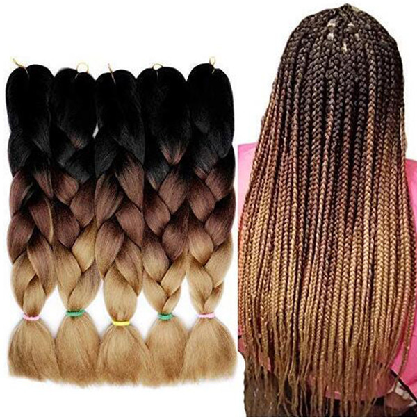 Hot! Selling! 1Pcs Synthetic Braiding Hair Crochet Jumbo Braid Hair Extension Ombre Color Kanekalon Crochet Box Braids Hair Twist