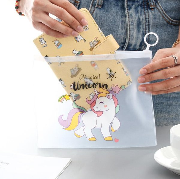Big volume transparent file bags office tools bag student pencil cases PP material with ring zipper easy carry 210*170mm