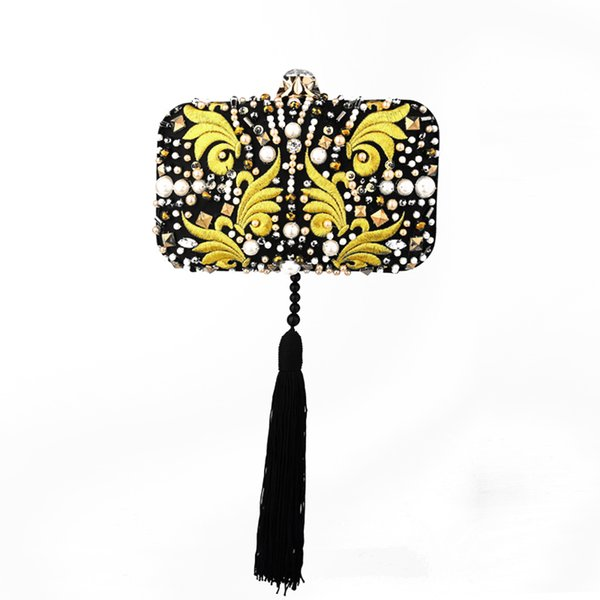 High-end dinner clutch bag embroidery hand diamond tassel feather diagonal small bag