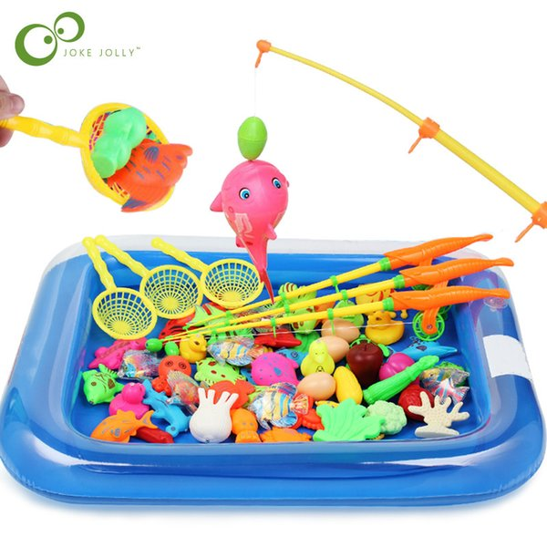 Fishing Toys Children Boy girl fishing toy set suit magnetic play water baby toys fish square hot gift for kids Free Shipping GYH