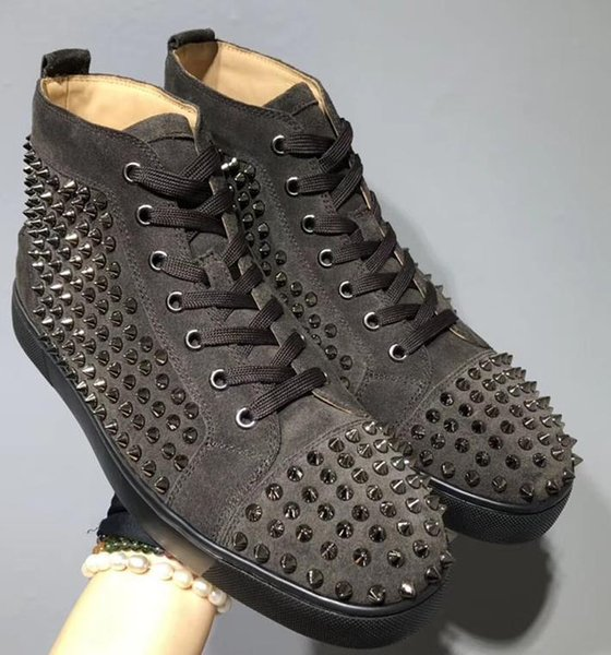 New red bottom spike Sneakers mix lace up Designer Flats shoes loafers slip on leather suedue luxury casual Party Wedding shoe 35-47 H525