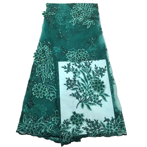 2019 High Quality Green Appliques Lace Beaded African Dress Embroidered French Net Lace Fabric with Stones