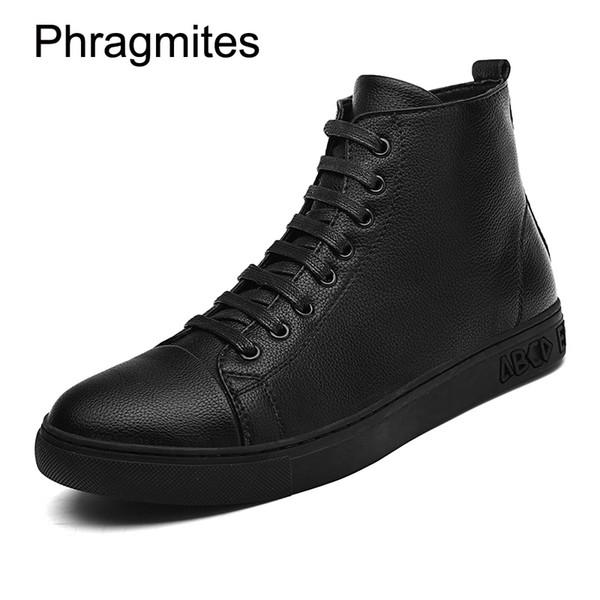 Phragmites Ücretsiz Kargo Siyah Erkekler Çizmeler Artı Boyutu Moda Sneaker Erkek Ayakkabı Düz Bota Feminina Vintage Stil Rahat Ayakkabılar