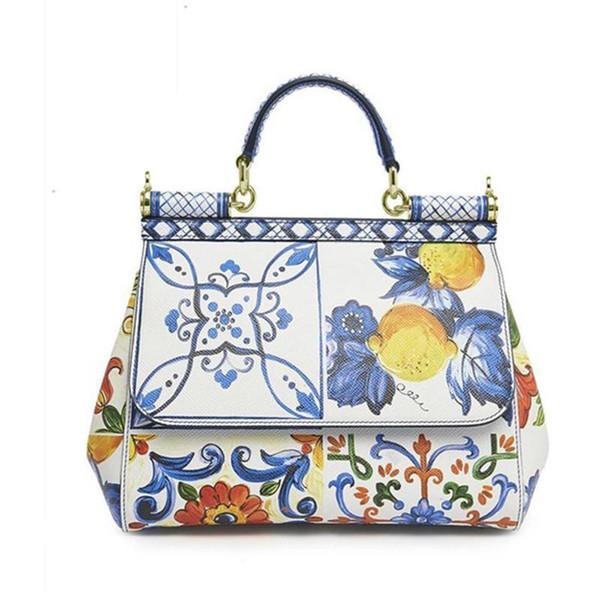 Designer-Itália Marcas Sicily Elegante Lady Bag Fruta Flor Impressão Tote Bolsas de Couro Genuíno Das Mulheres Branco Mensageiro Sacos de Ombro