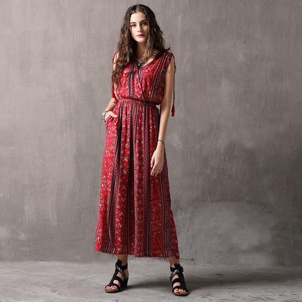 2019 Vestiti estivi New Cotton and Linen Printing Tute allentate per donna vintage
