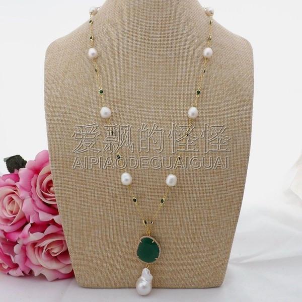 N090606 26 '' Collar de cadena de cristal verde perla de arroz blanco Keshi colgante de perlas J 190515