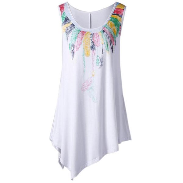 Best sale T Shirt Women Loose Leisure Plus Size Feather Print Asymmetric Sleeveless hot girl Vest summer Top Camisetas Muje