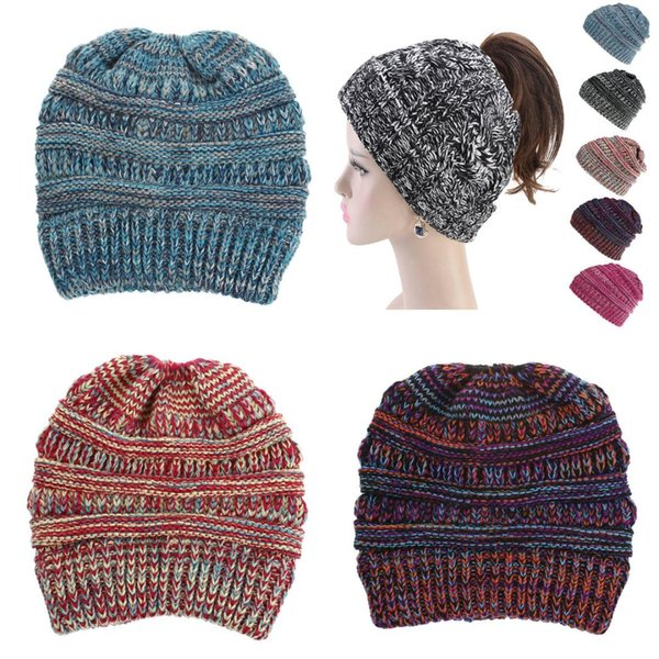 fbbe63358 2019 Soft Hats Knit Ponytail Beanie Warm Winter Hats For Women Beanie Hat  Stretch Cable Messy Bun Ski Cap Stetson Hats Trilby From Watcheshomie, ...