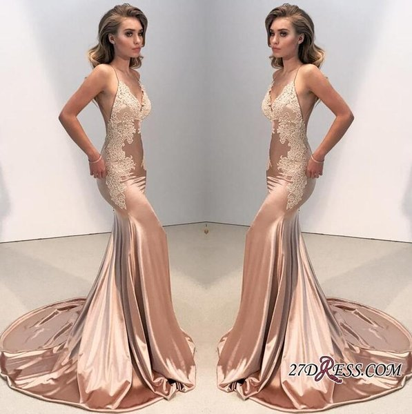 Custom Made V-neck Backless Lace 2019 Lace Appliques Prom Dress On Sale Long Formal Evening Party Gowns