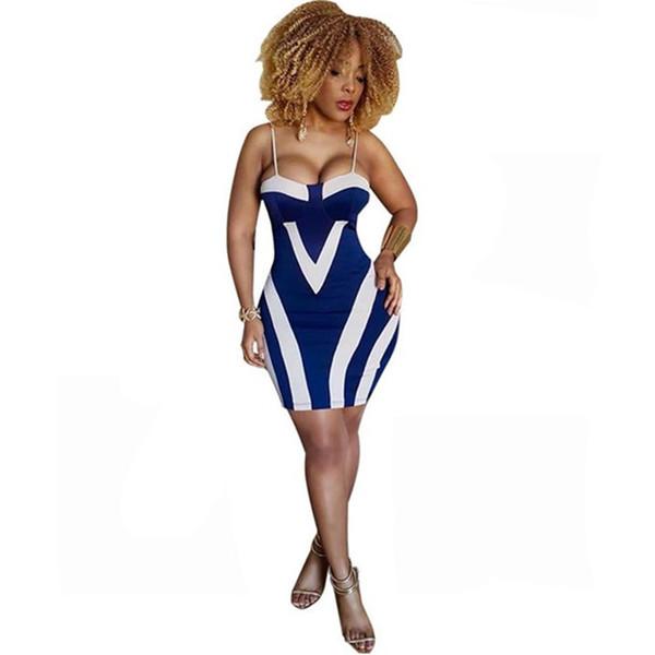 La nueva manera de la impresión atractiva bolsa de rayas de la cadera vestido de la correa de espagueti del vestido del club Badycon diseñador Ropa Mujer