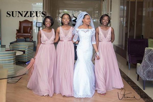 57941f8aa1b4 Damigelle di Tulle rosa chiaro Abiti Gonna Serio Collo senza maniche  Elegante abiti da festa lunghi per le donne africane Appliques abito da  sposa