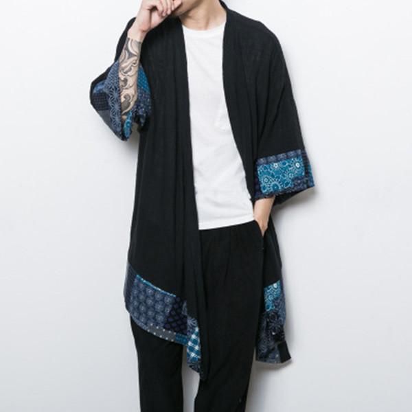 Chinese style Kimono summer men long Open Stitch jacket mens Cotton linen loose Windbreaker Cardigan New Male outerwear clothing