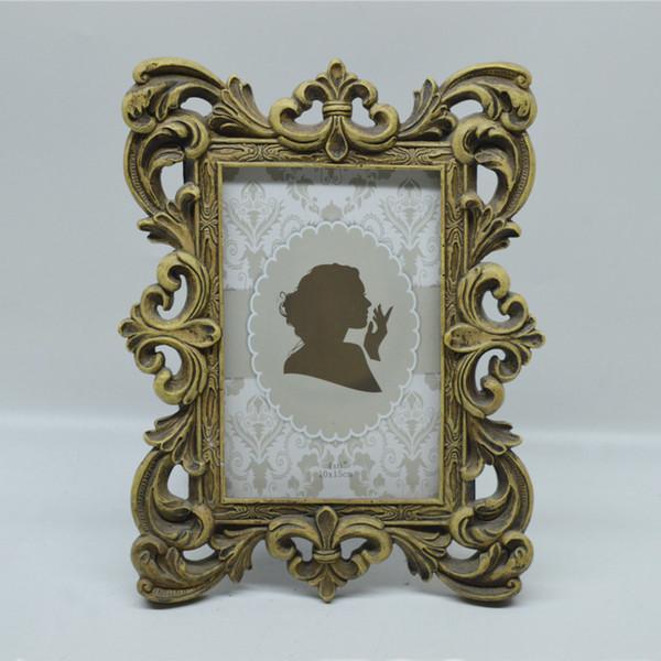 4 x 6 Zoll und 5 x 7 Zoll Vintage Bilderrahmen Bronze Creative Resin Photo Frame mit klassischem Hohlkantendesign