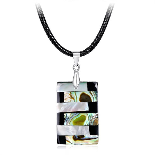 Rectangle Pearl Abalone Shell Necklace DIY Handmade Creative Charm Necklaces In Stock Factory Ladies Clavicle Pendants Wholesale Jewellries