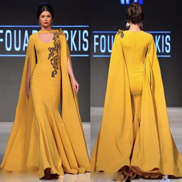 Beaded mermaid dress sexy yellow red carpet 2019 New women dress race Saudi Arabian dubai robes evening dresses vestidos de festa