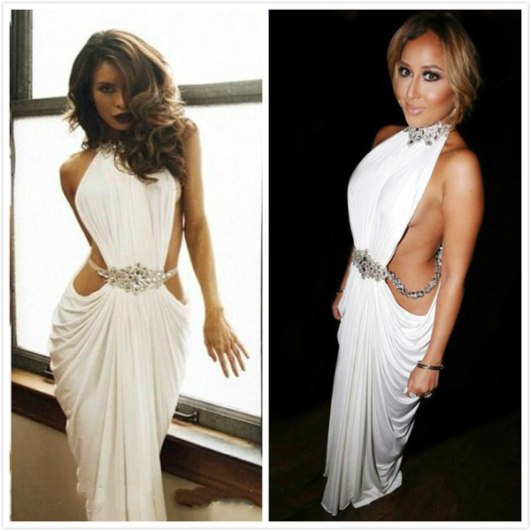 Sexy High Neck White Prom Dresses Sheath Floor Length Cut Out Special Occasion Party Gowns With Beaded Long Women Evening Gowns