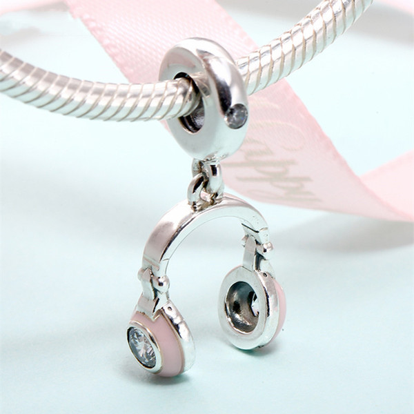 2019 Spring 925 Sterling Silver Jewelry Pink Helmet Hanging Charm Beads Fits Pandora Bracelets Necklace For Women DIY Making