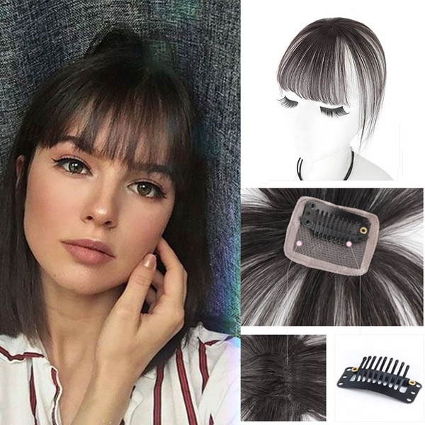 best selling 3D Air Bangs Hairpiece Extension Light Brown 100% Human Real Hair Flat Bangs With Temples Breathable Full Handmade Front Fringe