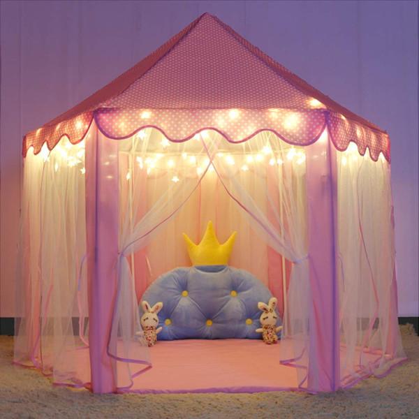 Фондовый в США Принцесса Замок Игровая Палатка для Девочек Большие Детские Игровые Палатки Шестигранный Театр Игрушки для Детей Внутренние Игры (Розовый) Свет