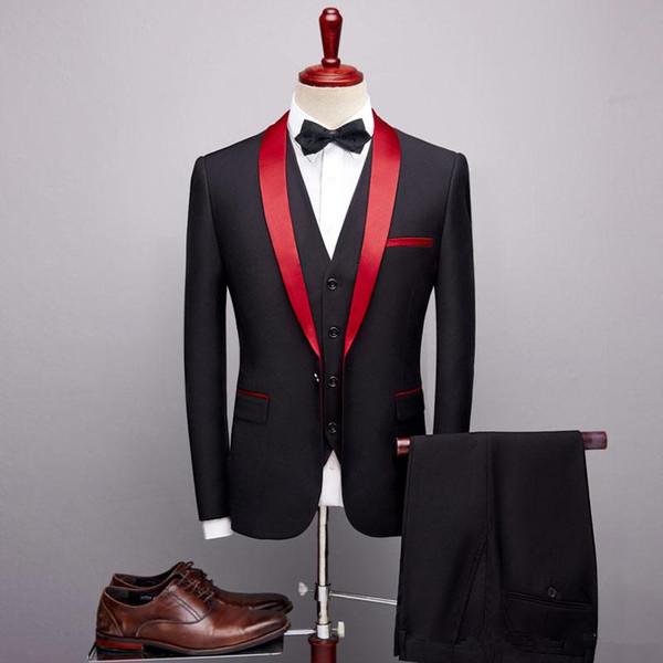 Red And Black Mens Wedding Suits Groomsmen Suits Slim Fit Shawl Lapel Best Men Suits Wedding Groom Tuxedos Men Blazer (Jacket+Pants+Vest)