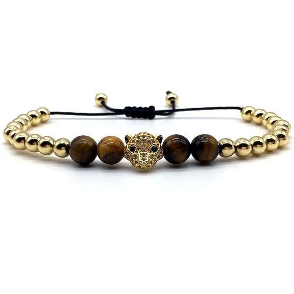 Fashion Leopard Head Charm Bracelet For Men Tiger Eye Stone Beads Men Women Bracelet Adjustable Braided Macrame Jewelry