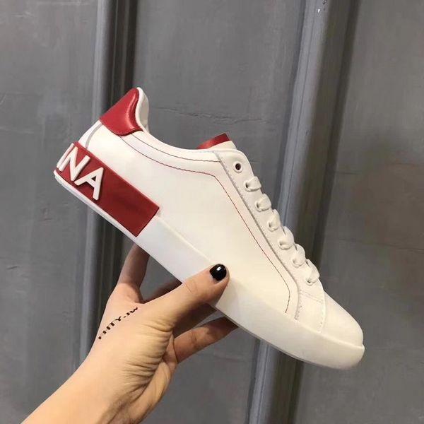 new photos b27ad ee452 Großhandel NEUE Herren Designer Schuhe DOLCE GABBANA Portofino Sneakers Aus  Bedrucktem Leder DG Weiß Ace Herren Schuhe Von Hoher Qualität Mit Box Stil  ...