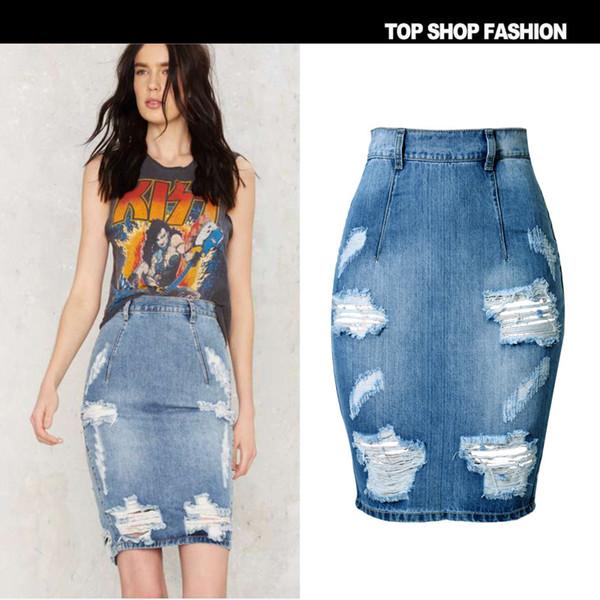 Denim Saia Das Mulheres 2017 Verão Casual Dividir Jeans Saias Na Altura Do Joelho Senhoras De Cintura Alta Midi Saia Lápis Jupe En Jean