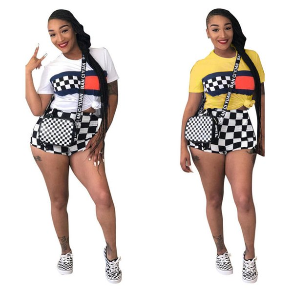 Summer Women Shorts Suit Black And White Grid Tracksuit Short Sleeve T shirt Shorts 2 Piece Outfits Plus Size Sportswear Street Ses B3181