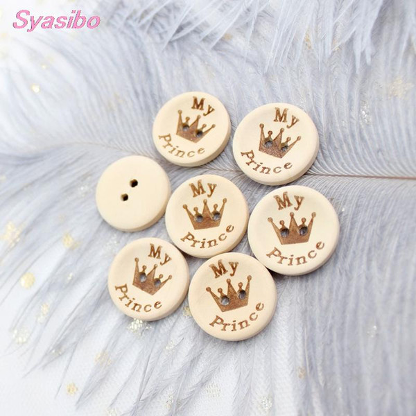 best selling 15mm 20mm 25mm My Prince Buttons Natural Wooden Sewing Buttons Baby Shower 2 Holes -AD0177