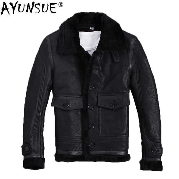 AYUNSUE Winter Genuine Leather Jacket Men Sheepskin Coat Shearling Leather Jackets Real Fur Coats Warm Overcoat 2018 KJ1317