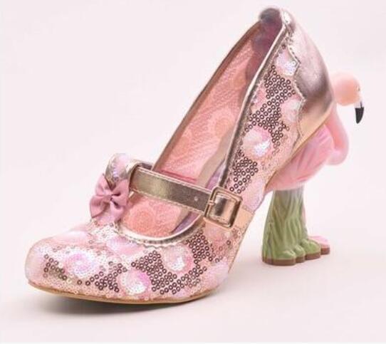 Nouveau mode Peint broderie flamant rose maille paillettes dentelle dentelle talon Flamingo chaussures femme Chaussures à talons hauts Flamingo