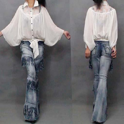Women Cool Jeans Europe Style Heavy Wash Denim Pants Ladies New Fashion Tassels Slim Flare Trousers High Waist Jeans Outfits #576326