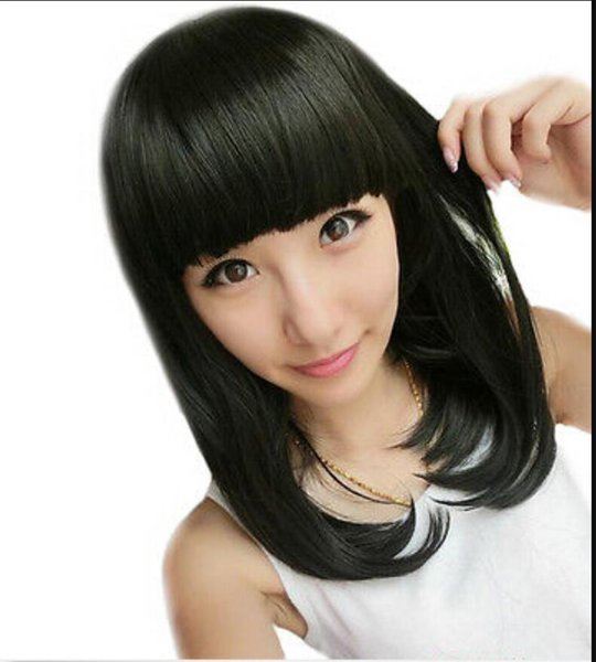 WIG free shipping Women Black BOBO Medium Long Straight Hair Cosplay Costume Dress Full Bangs Wig