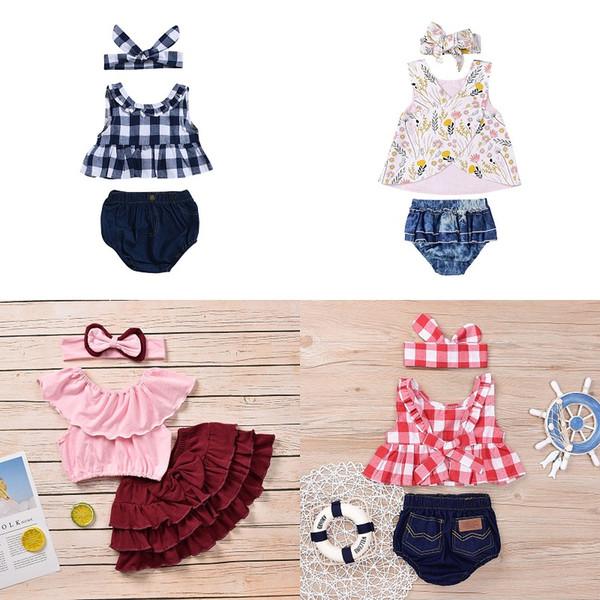 Completi per neonate Plaid con volant Top Shorts con fascia Set di tre pezzi Vestiti per bambina Vestiti per bambini di design 0-5T 07
