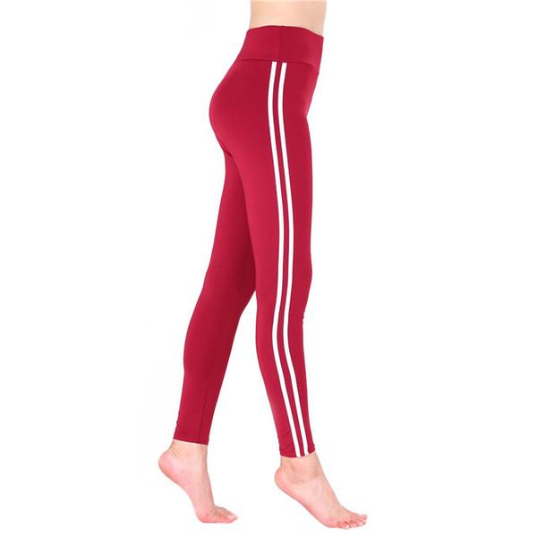 Tasarımcı Çizgili Bayan Tayt Spor Kapriler Yüksek Bel Aktif Yoga Pantolon Seksi Sıska Bayanlar Moda Pantolon