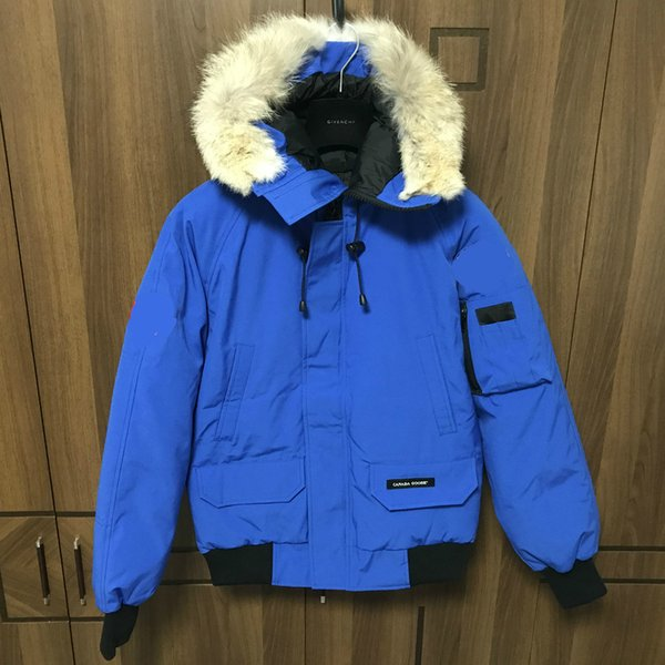 Men Parkas WINTER CG CHILLIWACK4 GOOSE Down & Parkas WITH Real wolf fur Collar White Duck Outerwear & Coats