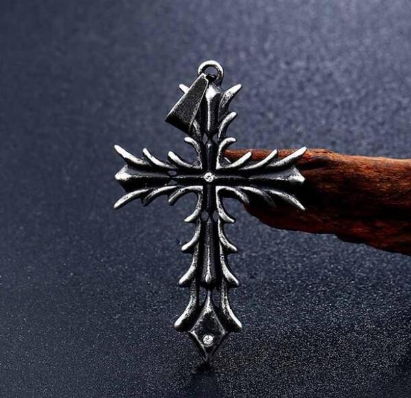 Gothic Carved Flower Grain Cross Necklace Mens Titanium Steel Inlay Diamond Punk Christian Pendants Necklaces Men Collar Friendship Jewelry