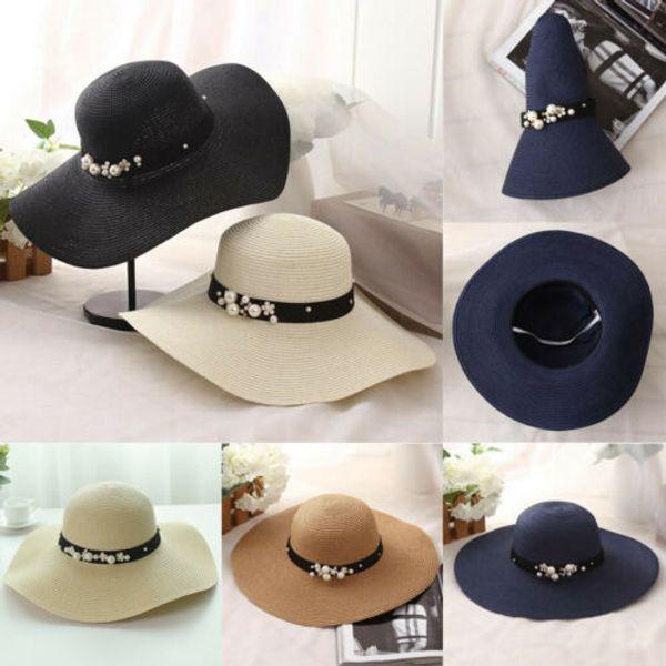 Wide Large Brim Straw Cap Summer Beach Women Lady Travel Floppy Sun Hat Foldable