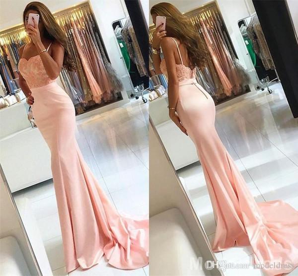 Bescheidene erröten rosa Meerjungfrau Prom Kleider Spaghetti Appliques Perlen Sweep Zug Sexy Abendgesellschaft Kleider Vestidos billig nach Maß