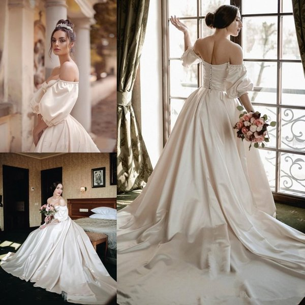 2019 Vintage Princess Wedding Dresses Sweetheart Half Sleeves Bridal Dresses China Buttons Back Long Sweep Satin A Line Dress Party Gowns